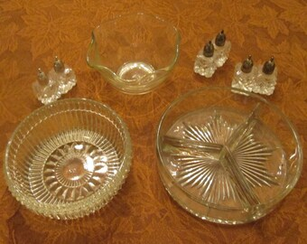 Vintage Glassware Assortment - Glass Buffet Grouping - Glass Serving Pieces