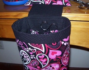 Thread Catcher, Scrap Caddy, Scrap Bag, Pin Cushion With Rubberized Gripper Strip - Paisley Hearts