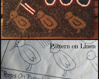 Hooked Rug Pattern on Linen Peeps on Parade