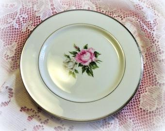 ViNTaGE Floral CaKE PLaTeS ~ 2 Plates ~ PiNK ROSES ~ Wedding, Tea Party, mismatched china dessert