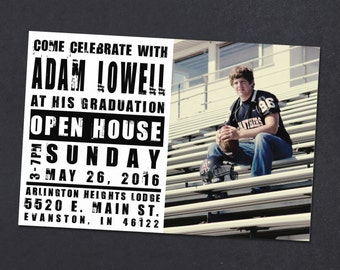 Black and white graduation announcement - graduation party invitation for class of 2017