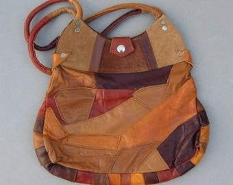 Mexican Patchwork Leather Purse Multi Color Leather and Suede Bag Made in Mexico