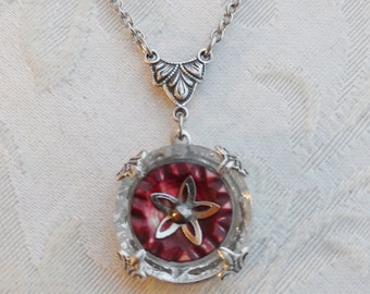 Antique Button Necklace- Faceted Clear Glass and Mother of Pearl Button- Red Star
