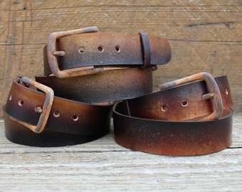 rusty leather snap belt with rounded prong buckle