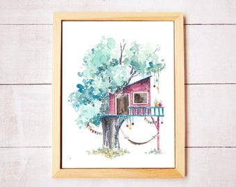 Treehouse Series 17 Watercolor Art Print - Digital Download