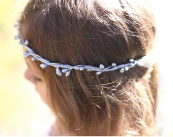Silver flower girl flower crown - wedding flower girl headpiece - floral headband - flower girl headband - woodland flower girl crown