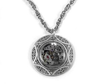 Steampunk Jewelry Necklace Vintage Round Ruby Watch Silver Celtic Wedding Mom MOTHERS DAY Gift GORGEOUS - Steampunk Jewelry by edmdesigns
