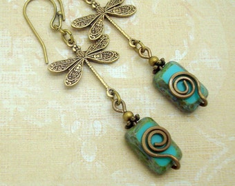Boho Earrings with Dragonfly Charm and Turquoise Blue Glass Beads