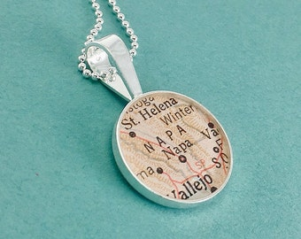 Vintage Map Sterling Silver Round Necklace.  Napa, California