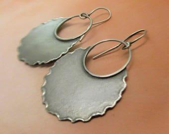 Large Silver Earrings, Fire Walker Rustic Dangle Earrings, Large Sterling Earrings, Argentium Earrings, Silversmith Jewelry, Artisan Jewelry