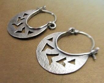 Argentium Earrings Sterling Silver Earrings Tribal Inspired Chevron Earrings, Silver Hoop Earrings, Contemporary Silversmith Artisan Jewelry