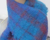 Vintage Irish Handwoven Long Wool Scarf Blue Tartan Woolen scarf FREE shipping