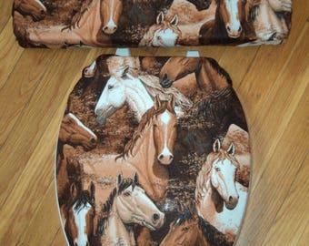 Horse Toilet Seat & Tank Lid Cover Set