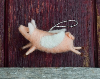 When Pigs Fly - Needle Felted Flying Pig Christmas Ornament