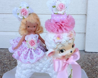 Easter Decoration Vintage Lamb Planter With a Nancy Ann Doll  Easter Ornament  or Nursery Decor TVAT