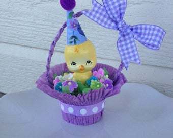 Birthday Decoration Easter Decoration Vintage Chick in a Nut Cup Birthday Ornament TVAT