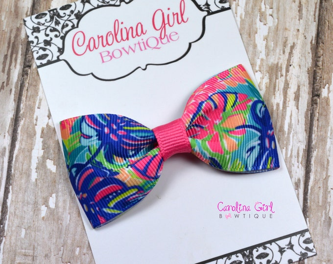 "Exotic Garden ~ 3"" Hair Bow Tuxedo Bow ~ Lilly Inspired ~ Simple Bow ~ Boutique Bow for Babies Toddlers ~ Girls Hair Bows"