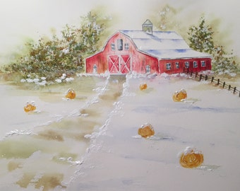 Red Barn Painting-Painting of Farm-Snowy Farm Scene-Watercolor Painting-Landscape of Farm-Red Barn-Winter Scene