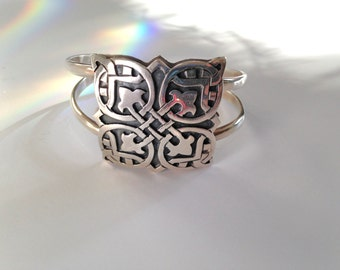 Mexican Sterling Bracelet Cuff Vintage 80s Bracelet from Mexico Mexican Tile