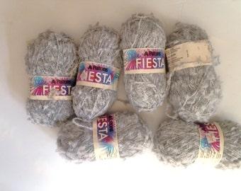 Patons Fiesta Yarn Gray & White Yarn 6 skeins of yarn Retired