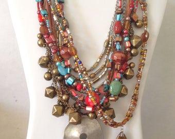 Boho Necklace Tribal Necklace Chico's Necklace LOT Gypsy FIVE Necklace Bali Boho 80s Lot PEP *