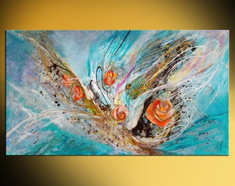 Acrylic Canvas Modern Symbolism Abstract Painting Contemporary Jewish Fine Art Angel Wings series Five Roses Large wall hanging Israeli art