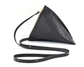 Celeste - Handmade Black Perforated Gold Leather Shoulder Bag Purse SS17
