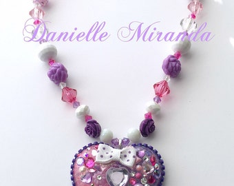 FREE US SHIPPING Purple Princess Heart Deco Kawaii Necklace