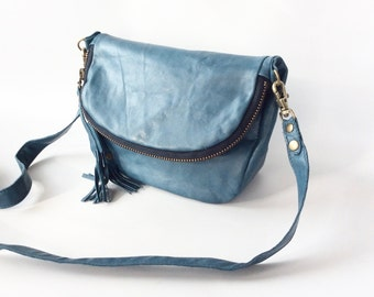Alberta leather bag in teal blue