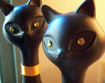 Deal of the Month - Two Tall Vintage Plastic Black Cats Kittens with Rhinestone Eyes