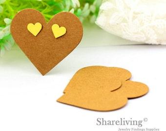 Kraft Paper Heart shape Earring Display Tags, Earring Display Cards, Earring Holder,  Packaging, Blank Design Tag - EDC001M