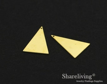 Exclusive - 10pcs Raw Brass Triangle Charm / Pendant,  Fit For Necklace, Earring, Brooch  - TG336