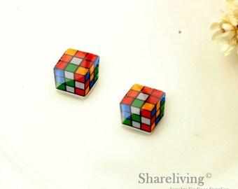 4pcs (2 pairs) Mini Rubix Cube Charm / Pendant,  Stud Earring, Laser Cut Tiny Cube Earring, Perfect for Earring / Rings - YED011V
