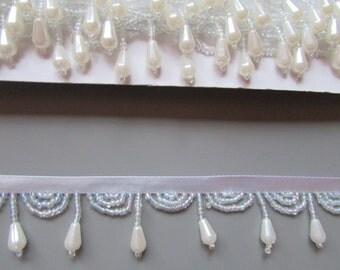 Pearl Beaded Fringe top quality x 1 metre