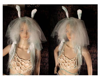 Bunny Ear Wig Veil, white puffy hair, bunny ears, goth bride, cosplay headband, Halloween Costume, Gothic hairpiece, Post Apocalyptic, anime