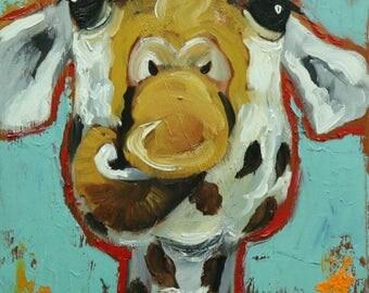 Giraffe #14 -  12x24 inch animal original oil painting by Roz