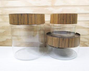 3 Vintage Pyrex Glass Stack 'N' See Kitchen Canister Set Wood Grain Plastic Lids