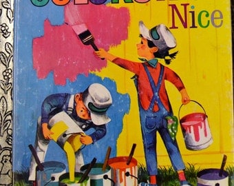"""Vintage Children's Book """"Colors Are Nice"""" Little Golden Book Reading to Children"""