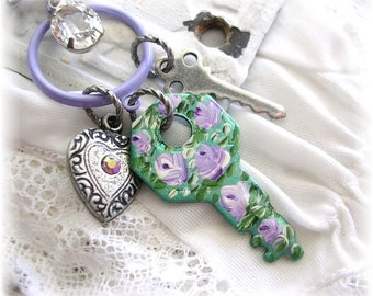 Silver Bag Charm Purse Pull Clip Hand Painted Key Rose Flowers Crystal Bead Bow Upcycled Shabby Chic Jewelry Vintage Keys Heart Charm