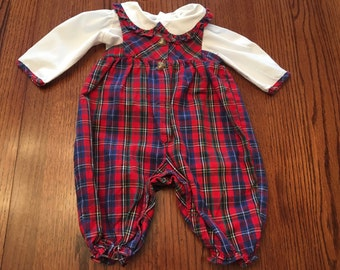 Plaid Overalls Outfit 6/9 Months