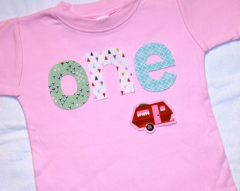 Girls 1st Birthday ONE shirt with VW Camper Bus - 18 month short sleeve shirt - lettering in pink blue green