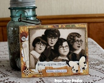 Funny Friends Happy Birthday Collage  card,handmade card
