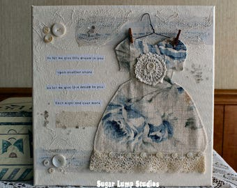 Vintage Altered Dress Collage Canvas 12 x 12 inches with vintage embellishments