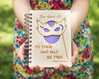To Thine Own Self Be True - Lasercut Wood Journal