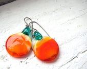 Orange and Teal Round Minimalist Glass Earrings