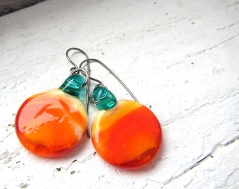 Orange and Teal Round Minimalist Glass Earrings