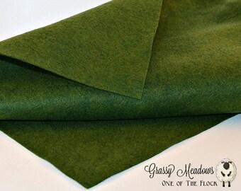 Grassy Meadows Wool Felt, Merino Wool Blend Felt, Wool Felt Yardage, Wool Felt Fabric, Green Felt Fabric, Green Felt Yardage, Green Felt