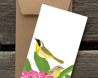 Common Yellowthroat and Plumeria: Pack of 8 eco-friendly flat cards