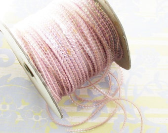 Pale Pink Bliss...Scrumptious Vintage Iridescent Sequin Trim...New Old Stock