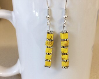 Yellow turquoise howlite cube earrings
